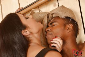 Interracial femdom scene by Mira Cuckold and Anita Berlusconi