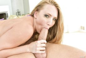 Blonde pornstar AJ Applegate swallowing jizz after sucking off big cock