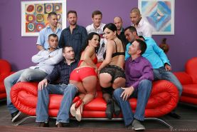 Hot ass gals Sandra Romain & Abbie Cat are up to have some gang bang fun
