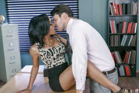 Busty black office worker Anya Ivy taking cum in mouth after hardcore sex