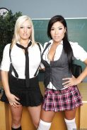 Asian schoolgirl London Keyes shows ass with busty slut Dayna Vendetta