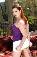 Foxy babe Angell Summers pleasing her love holes with a double-side dildo