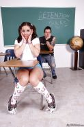 Young teen Gracie Glam in socks and pigtails gets cum on face in hot gangbang