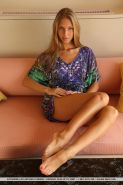 Skinny teen babe Katherine A showing off great legs and small breasts