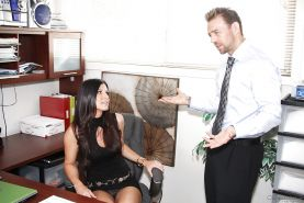 Sexy clothed secretary India Summer eats cum during hot reality office blowjob