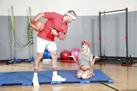 Teen schoolgirl Marsha May baring tats and big tits before blowing big cock