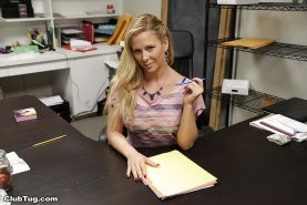 Leggy office worker Cheri DeVille exposing perfect big tits in high heels