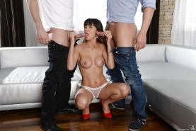 Busty brunette Mona Kim giving 2 cocks handjob and BJ during MMF threesome