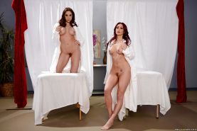 Lesbian moms Chanel Preston and Monique Alexander modeling in nude