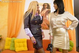 Hot fashionista Sharon Pink is into sensual lesbian action with her friend