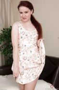 Pantyhose garbed redhead Annabelle Lee revealing hairy MILF cooter
