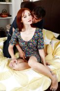 Teen cutie Violet Monroe has her perky nipples and small tits licked by man