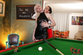 Stunning blonde and brunette have a passionate lesbian sex on the pool table