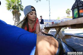 Amateur teen Kimmy Granger taking mouthful of cum after outdoor BJ