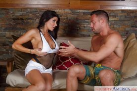 Latina milf Romi Rain gives a juicy deepthroat blowjob on cam