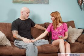 Redhead big-tit Marie McCray is swallowing juicy sperm load!