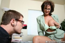 Lustful mature in glasses Deauxma seducing a guy for nasty fucking
