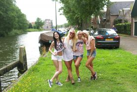 Tiny tits Lesbian teen Vanda L and her girlfriends pose outdoor