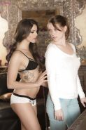 Sweet lesbians Aspen Rae and Shae Snow is licking each other out