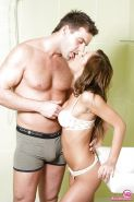 Gorgeous young girl Jennifer rides boyfriend in reverse cowgirl position