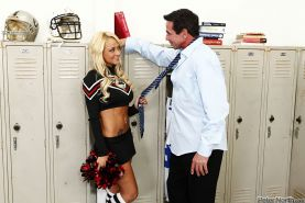 Blonde cheerleader Briana Blair getting fucked by Peter North in locker room