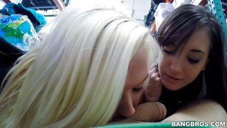 Young chicks Gia Paige and Chloe Carter suck cock and eat mouthful of jizz