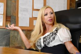 Blonde Nikki Benz was penetrated hard in the office by the boss