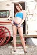 Outdoor undressing scene features horny babe in high heels Jodi Taylor