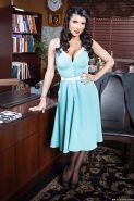 Hot office babe in stockings Romi Rain gets rid of her dress and lingerie
