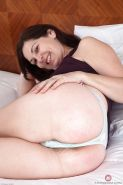 Mature lady Francesca spreading hairy pussy up close after panty removal #51335100