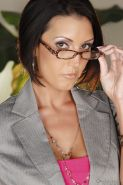 Big busted MILF in glasses Dylan Ryder stripping off her clothes
