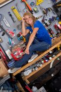 Non nude amateur model Madden in jeans flashing lace panties in the workshop #51358851