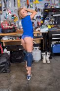 Non nude amateur model Madden in jeans flashing lace panties in the workshop #51358866