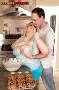 Blond SSBBW Cassie Blanca unleashing huge saggy tits and nipples in kitchen