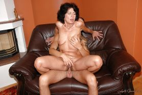 Horny granny with tiny tits gets her hairy twat nailed by younger guy #51030325