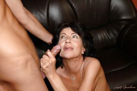 Horny granny with tiny tits gets her hairy twat nailed by younger guy #51030360