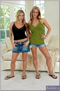 Big titted babes Eve Laurence and Harmony strip from shorts and panties