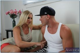 Big busted MILF Devon Lee gives a blowjob and gets fucked hardcore