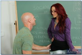 Busty teacher in glasses Jayden Jaymes gives a blowjob and gets fucked