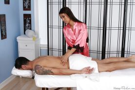Mesmerizing Asian masseuse Sharon Lee making her friend satisfied