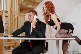 Redhead secretary Ella Hughes getting a drippy facial at the office