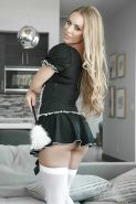 Hot blonde Nicole Aniston loosing big tits from maid uniform in stockings
