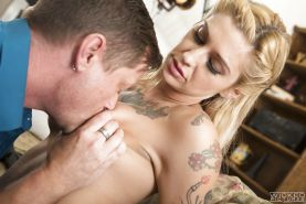 Blonde pornstar Kleio Valentien riding cock after having pussy licked out