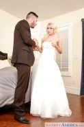 Stocking and wedding dress adorned bride Alix Lynx giving blowjob