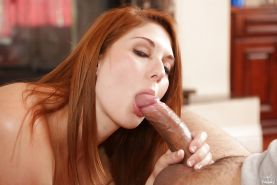 Cumshot action with an sexy redhead Rose Red doing blowjob to a big cock