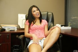 Masturbating and undressing scene features Asian teen babe Cindy Starfall