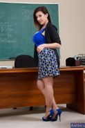 Sweet mature teacher Sara Jay is showing her big tits to her students