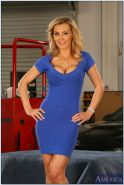Gorgeous busty MILF Tanya Tate taking off her dress and lingerie