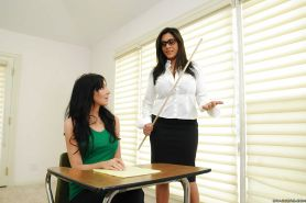 Mean lesbian teacher in glasses spanking naughty student with sexy ass