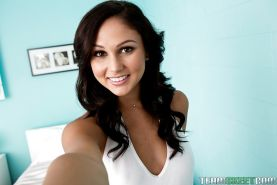 Amateur brunette teen Ariana Marie tries herself in solo genre